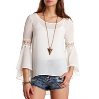 CROCHET BELL SLEEVE HIGH-LOW TOP