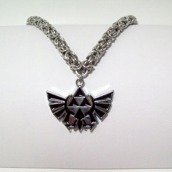 Zelda, Mens necklace, Triforce, necklace, chainmaille, video game, Link