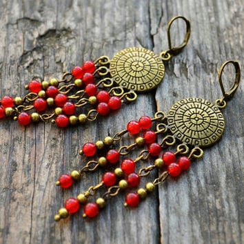 Red berries Chandelier Earrings Bronze Beaded Earrings Red gems earrings Boho Earrings Festival Earrings Hippie Earrings Gift for girlfriend