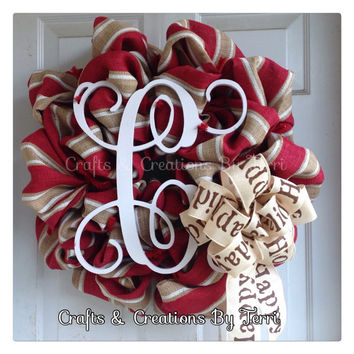 Monogram Christmas Wreath Christmas Wreath Initial Wreath