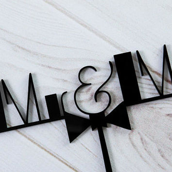 MR MR WEDDING Cake Topper Wedding / Black Bow Tie Topper / Classy Acrylic Mr & Mr