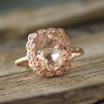 2.15 Cts. Peach Morganite Halo Diamond Ring 14K Rose Gold