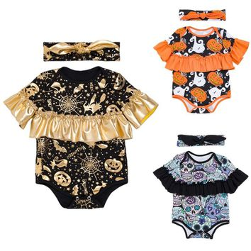 Halloween Baby Clothing Costumes Graffiti Skull Gold Pumpkin Pattern Bebe Infant Hallowmas Ruffles romper Jumpsuit+Headband