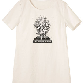 Women Iron Throne Printed Linen Short Sleeves Vintage Mini Shift Dress WDS_06