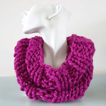 Pink Cowl Chunky Fuschia Knitted Infinity Scarf Bulky Wool by Emma Dickie Design