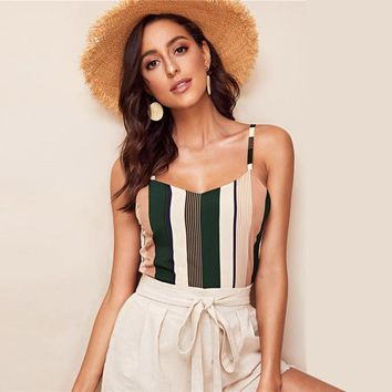Casual Striped Print Basic Cami Top Women V Neck Chiffon Cami Ladies Vertical Stripe Patchwork Top