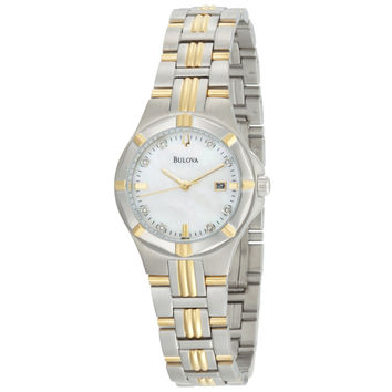 Bulova 98P116 Women's Diamond MOP Dial Two Tone Steel Quartz Watch