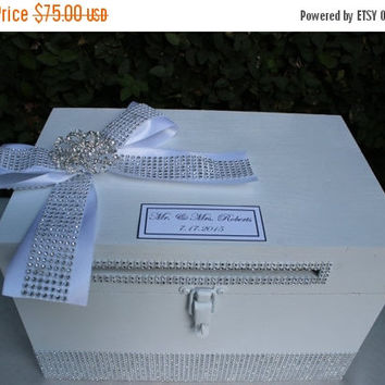 ON SALE ON Sale White Wedding Card box Cardholder /Rhinestone brooch Wooden Lockable Cardholder Box / Box with Slot / Rustic Wedding Decor