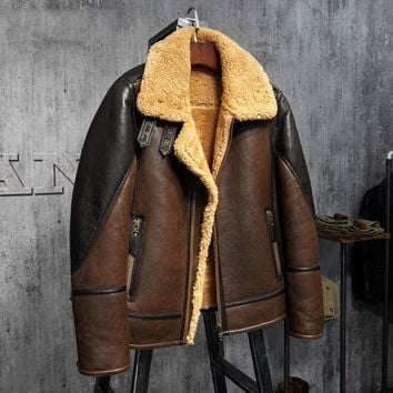 Men's Shearling Leather Jacket Light Brown B3 Jacket Men's Fur Coat Aviation Leathercraft Pilots Coat Original Flying Jacket
