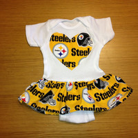Yellow Pittsburgh Steelers Girls Ruffle Onesuit by BebeSucreOnline