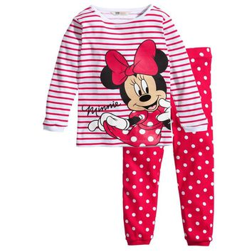 New Autumn Winter Cartoon Mickey Cotton Clothing Sets T-Shirt+Pant Kids Long Sleeve Sports Suits T-shirts + Pants Girls Clothes
