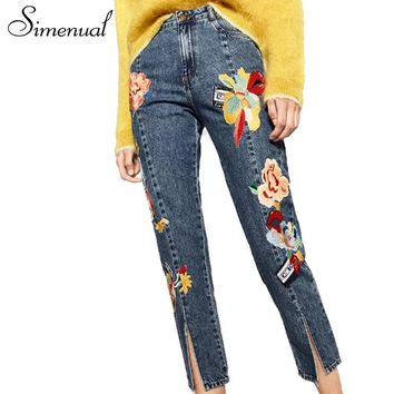 Simenual Fashion appliques patchwork jeans for women vintage split ankle length pants streetwear summer female denim trousers