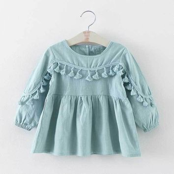 Fashion Baby Girls Kids Infant Doll Tutu Long Sleeved Dress Princess Tassel Dresses Vestidos S2770
