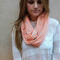 Peach and Grey Loop Scarf, Striped Infinity Scarf, Circle Scarf, Eternity Scarf