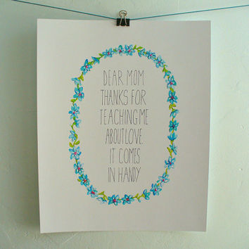 mothers day print - dear mom - poster watercolor hand drawn card