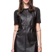 All Over Black Faux Leather Dress