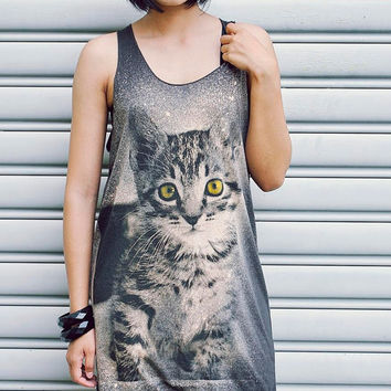 Cat Tank Top - Women tshirt,women tank top, Tunic Unisex Shirt Vest Sleeveless Singlet Dark Gray T-Shirt Size M L