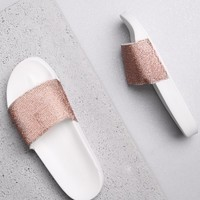 ROSE GOLD & WHITE DIAMANTE SLIDERS
