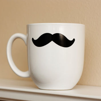 Mustache Mug  White  Coffee Tea Latte by TheBeautifulHome on Etsy