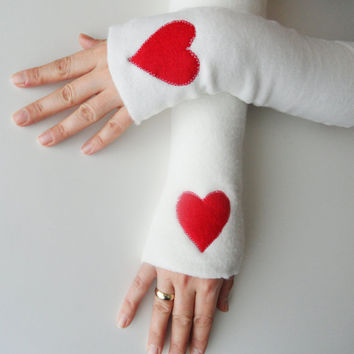 long fleece gloves, valentine's day gifts, ivory fingerless gloves