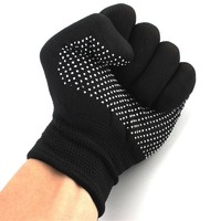 1 pair Hair Straightener Perm Curling Hairdressing Heat Resistant Finger Glove Kitchen Glove Anti Abrasion Black Color