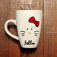 "Kitty mug - Can say ""Hello"" or can be customized with a name - Hand drawn"