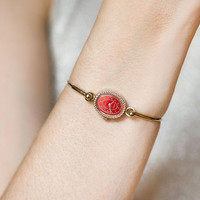 Gold plated bangle wristwatch red face Seagull, oval ladies watch vintage, evening watch jewelry gift for women, petite watch cocktail watch