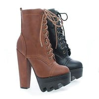 Vive58 Black Pu By Wild Diva, Round Toe Lace Up Lug Sole Platform High Heel Combat Ankle Boots