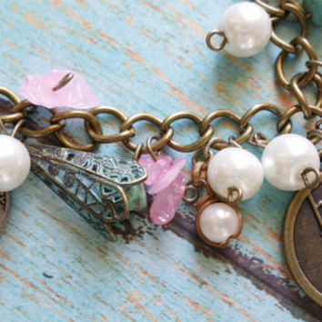 Hide Your Crazy Assemblage Bracelet / Mixed Metal Bracelet / Glass Pearl Bracelet / Turquoise Bracelet / Western Jewelry / Hide Your Crazy