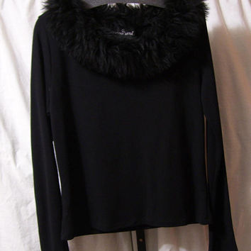 Designer, Winter Sweater, Pullover, Gorgeous, Faux Fur Collar, Carole Little, Size Large, Sexy and Warm