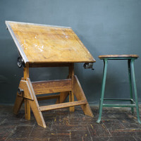 Drafting Table / Vintage Wood and Cast Iron Artist Drawing Table