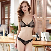 Ladies Bra Set Sexy Permeable With Steel Wire Transparent Underwear [296078245929]