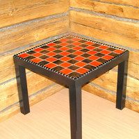 Red black side table coffee table modern furniture chic vibrant glass mosaic bright bold contemporary art livingroom
