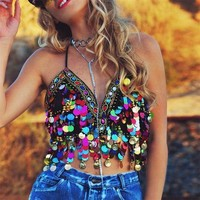 Festival Clothing Mermaid Top Sequin Tassel