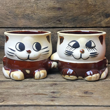Set of 2 Vintage Cat Brown Pottery Planters