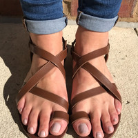 Strappin' For Spring Brown - Sandal