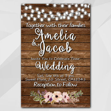 Watercolor Wedding Invitation, wood Invitation, String Lights Custom invitation, diy wedding, etsy wedding invitation XW023w
