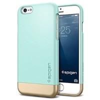 iPhone 6 Case, Spigen® [Safe Slide] Protective [Style Armor] [Mint] SOFT-Interior Scratch Protection Metallic Finished Base with Dual Layer Protection Slim Trendy Hard Case for iPhone 6 (4.7) (2014) - Mint (SGP11046)