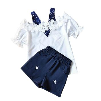 Toddler Baby Kids Girls Outfits Clothes Dot Lace T-shirt Tops+Shorts Pants Set
