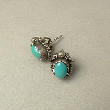 SIGNED Vintage Native American Zuni Earrings TURQUOISE Earring Studs STERLING Silver c.1950s