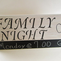 Family Night Chalk Board Sign, White and Black Wood Sign, Chalk Board Sign