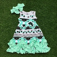 baby girls summer sleeveless  sell sleeveless dress mint green aztec kids ruffles with bow