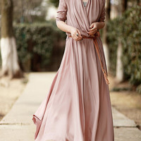 Women's a-line maxi dress long skirt long sleeve cotton dress floor length long dress in pink BJ14,s,m,l