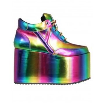 YRU Rainbow Disco Platform Shoes