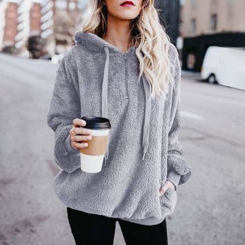 2018 Hot Sale  Fashoin Womens Sexy Solid Fluffy Winter Top Hoodies Ladies Hooded Pullover Hoodie Sweatshirt Mujer WS&&40