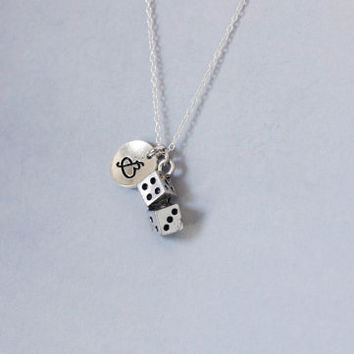Dice Necklace. Dice Charm. Personalized Initial Necklace. friendship jewelry.Sterling Silver Necklace. No.190