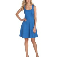 Jessica Simpson Women's Fit and Flare Dress, Blue, 6 - save winkie Shop