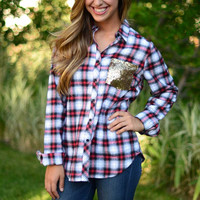 Sequins and Flannel Top