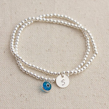 Sterling Silver Beaded Evil Eye / Initial charm Stack bracelet