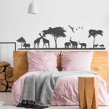 Safari Wild Animals Wall Decal, Jungle Wall Decal, African Safari Decal Vinyl Sticker Bedroom Nursery Decor, Animal Wall Art Nursery K83